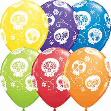 Sugar Skulls Carnival Assortment Latex Round 11in/27.5cm
