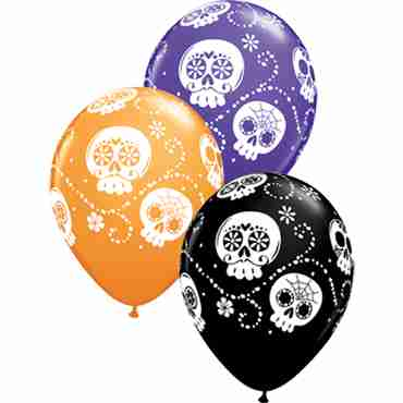 Sugar Skulls Standard Orange, Fashion Purple Violet and Fashion Onyx Black Assortment Latex Round 11in/27.5cm