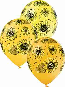 Sunflowers Pastel Yellow, Pastel Ocher and Pastel Bright Yellow Assortment Latex Round 12in/30cm