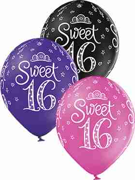 Sweet 16 Pastel Rose, Pastel Royal Lilac and Pastel Black Assortment Latex Round 12in/30cm
