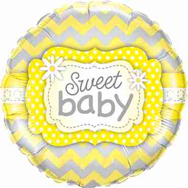 sweet baby yellow patterns foil round 18in/45cm