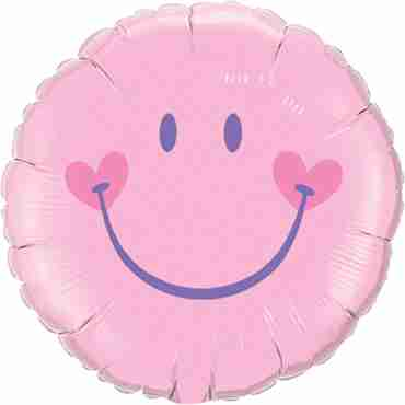 sweet smile face - pink foil round 18in/45cm