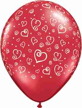 Swirl Hearts Ruby Standard Red Latex Round 11in/27.5cm