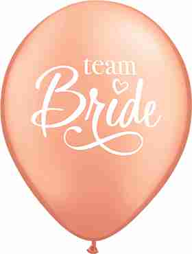 Team Bride Metallic Rose Gold Latex Round 11in/27.5cm