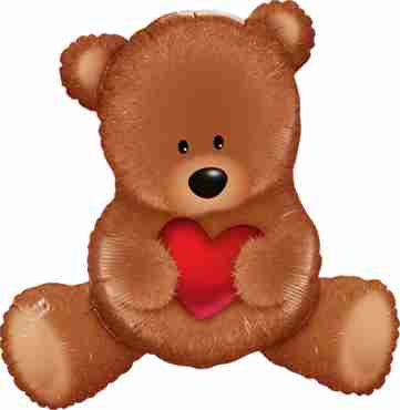 teddy bear love foil shape 35in/89.5cm