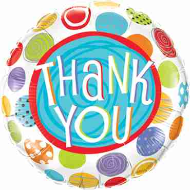Thank You Patterned Dots Foil Round 9in/22.5cm