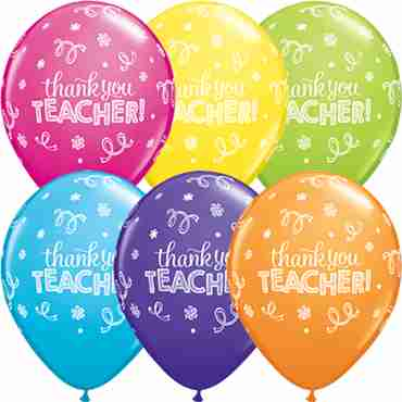 Thank You Teacher Tropical Assortment Latex Round 11in/27.5cm