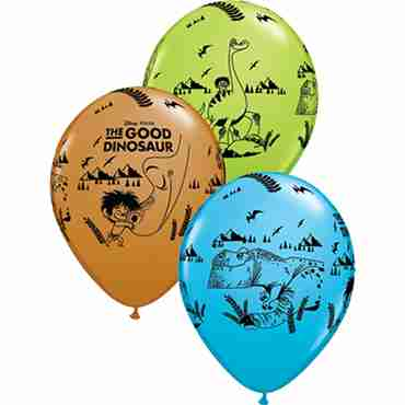 the good dinosaur fashion lime green, fashion mocha brown and fashion robins egg blue assortment latex round 11in/27.5cm