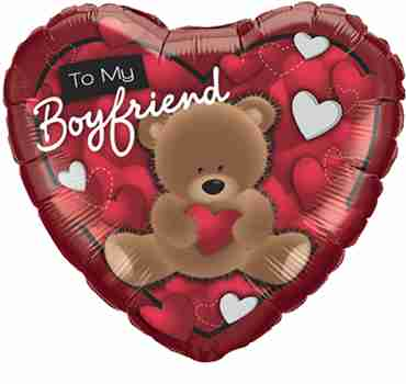To My Boyfriend Bear Foil Heart 18in/45cm