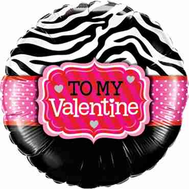 To My Valentine Zebra Stripes Foil Round 18in/45cm