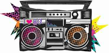 Totally 80's Boombox Foil Shape 35in/88cm x 17in/43cm