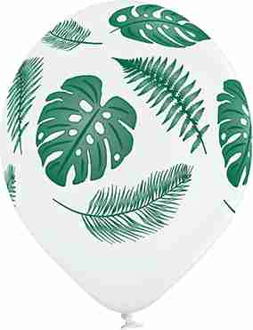 Tropic Leaves Pastel White Latex Round 12in/30cm