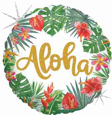 Tropical Aloha Holographic Foil Round 18in/45cm