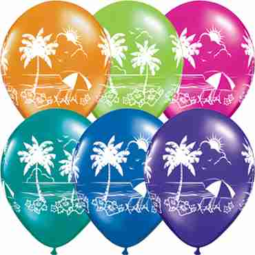 Tropical Vistas Fantasy Assortment Latex Round 11in/27.5cm
