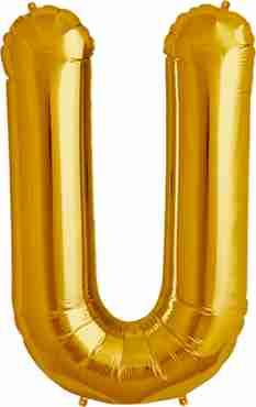 U Gold Foil Letter 16in/40cm