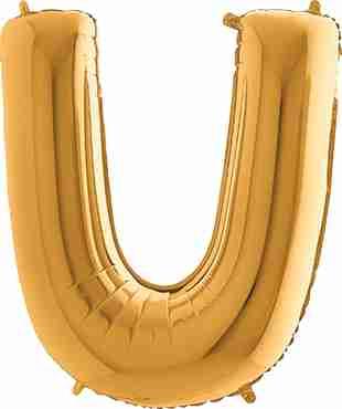 U Gold Foil Letter 7in/18cm
