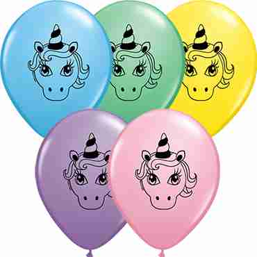 Unicorn Head Pastel Assortment Latex Round 5in/12.5cm