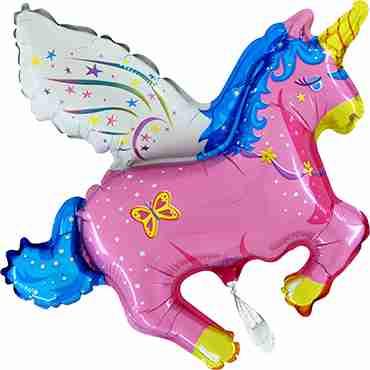 Unicorn Pink Foil Shape 36in/90cm