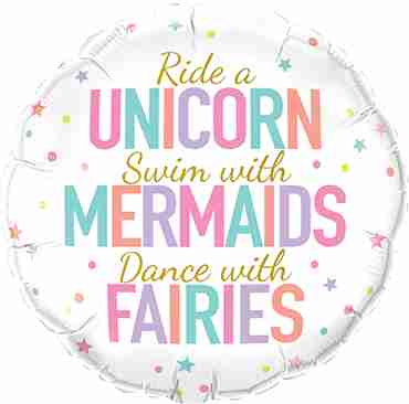 Unicorn/Mermaid/Fairies Foil Round 18in/45cm