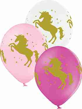 Unicorns Pastel White, Pastel Pink and Pastel Rose Assortment Latex Round 12in/30cm