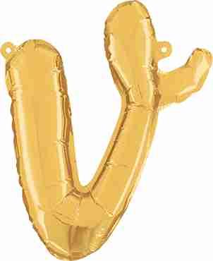 V Script Gold Foil Letter 14in/36cm