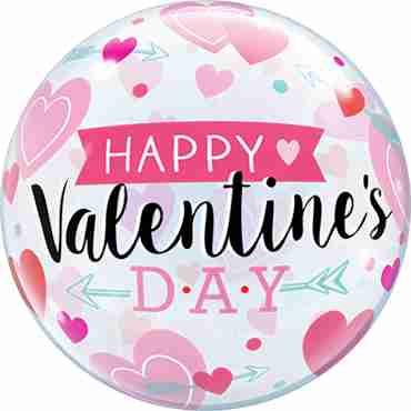 Valentine's Arrows and Hearts Single Bubble 22in/50cm