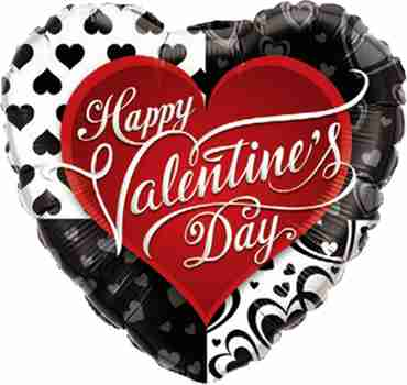 Valentine's Black Hearts Foil Heart 18in/45cm