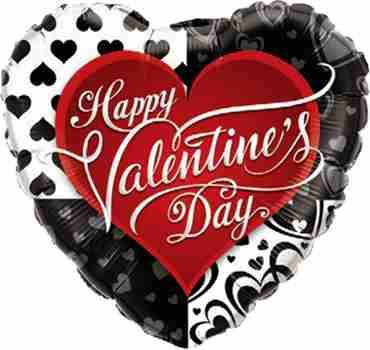 Valentine's Black Hearts Foil Heart 36in/90cm