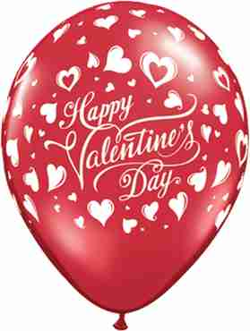 Valentine's Classic Hearts Crystal Ruby Red (Transparent) Latex Round 11in/27.5cm