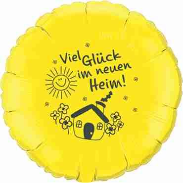 viel glück im neuen heim! yellow w/grey ink foil round 18in/45cm