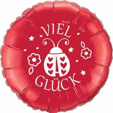 viel glück ruby red w/white ink foil round 18in/45cm