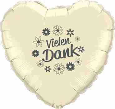 vielen dank ivory w/grey ink foil heart 18in/45cm