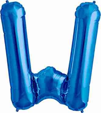 W Blue Foil Letter 34in/86cm