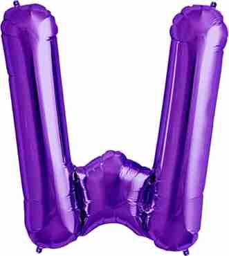 W Purple Foil Letter 34in/86cm