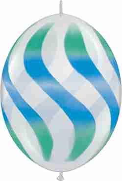 Wavy Stripes Crystal Diamond Clear (Transparent) w/Blue-Green QuickLink 12in/30cm
