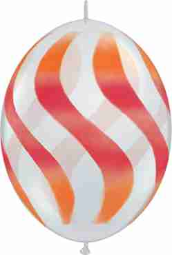 Wavy Stripes Crystal Diamond Clear (Transparent) w/Red-Orange QuickLink 12in/30cm