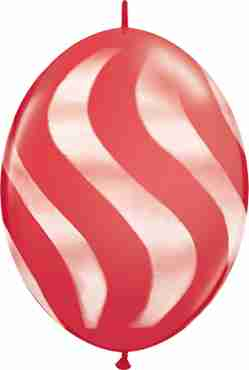 Wavy Stripes Standard Red w/White QuickLink 12in/30cm
