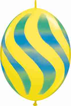 Wavy Stripes Standard Yellow w/Blue-Green QuickLink 12in/30cm