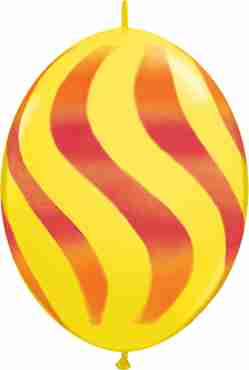 Wavy Stripes Standard Yellow w/Red-Orange QuickLink 12in/30cm