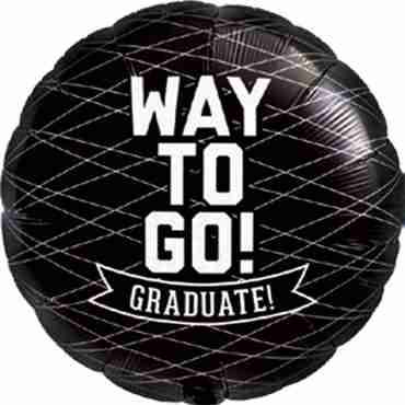 Way To Go Grad - Black Foil Round 18in/45cm