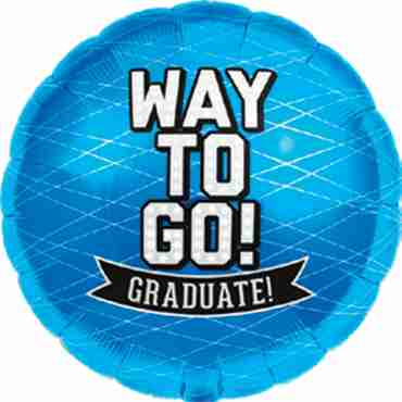 Way To Go Grad - Blue Foil Round 18in/45cm