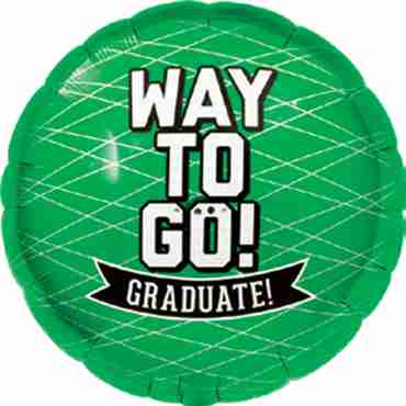Way To Go Grad - Green Foil Round 18in/45cm