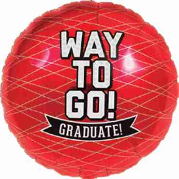 Way To Go Grad - Red Foil Round 18in/45cm