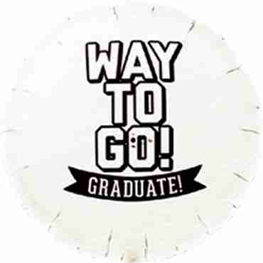 Way To Go Grad - White Foil Round 18in/45cm