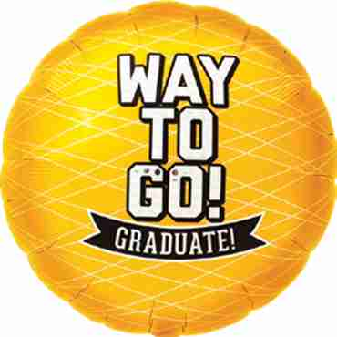 Way To Go Grad - Yellow Foil Round 18in/45cm
