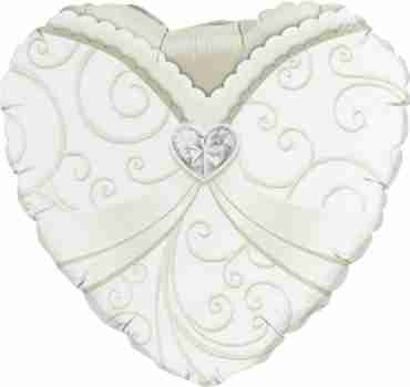 Wedding Gown Foil Heart 18in/45cm