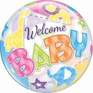 Welcome Baby Animal Patterns Single Bubble 22in/55cm