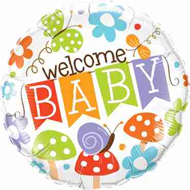 welcome baby banner garden foil round 18in/45cm