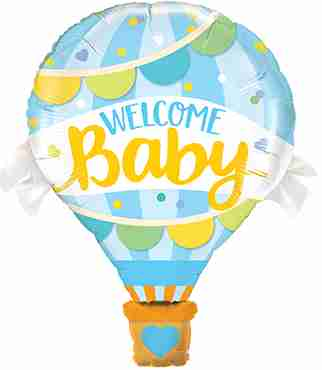 Welcome Baby Blue Balloon Foil Shape 42in/107cm