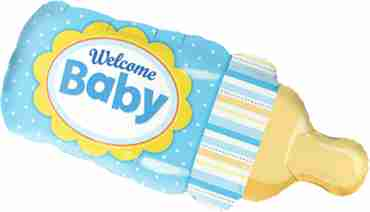 welcome baby bottle blue foil shape 39in/99cm